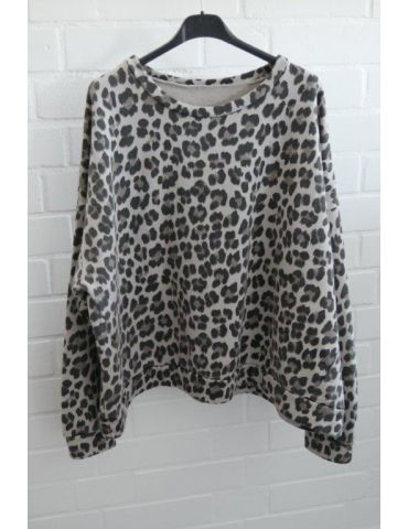 Damen Sweat Shirt langarm beige schwarz taupe Leo Baumwolle Onesize 38 - 44