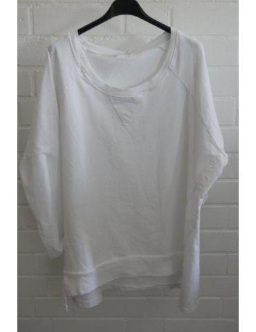 Damen Sweat Shirt langarm weiß white Baumwolle Onesize 38 - 44