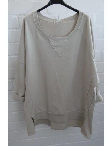 Damen Sweat Shirt langarm beige sand Baumwolle Onesize 38 - 44