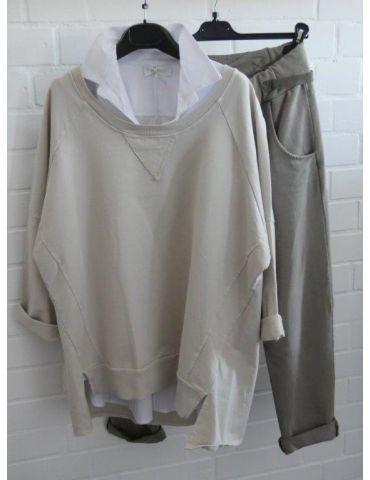 Damen Sweat Shirt langarm beige sand Baumwolle...