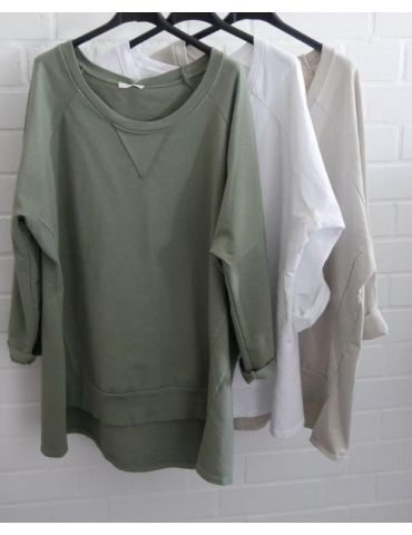 Damen Sweat Shirt langarm grau grey Baumwolle...