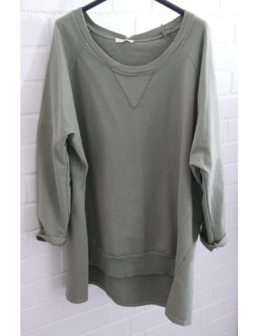 Damen Sweat Shirt langarm khaki oliv grün Baumwolle Onesize 38 - 44