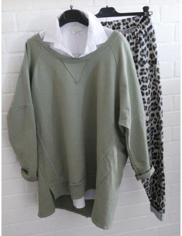 Damen Sweat Shirt langarm khaki oliv grün...