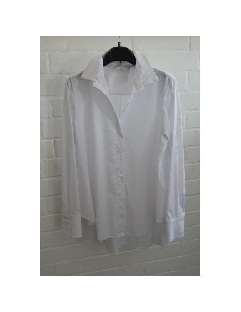 ESViViD Damen Bluse weiß white uni A-Form durchgeknöpft