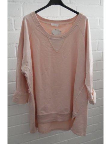 Damen Sweat Shirt langarm rose rosa Baumwolle Onesize 38 - 44