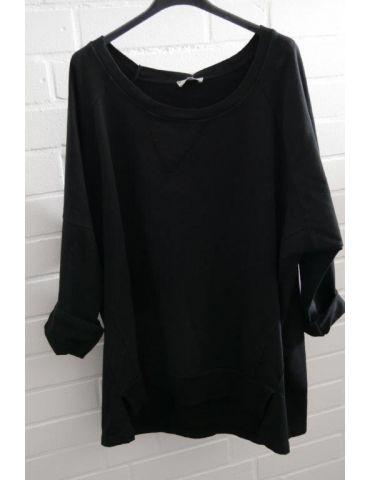 Damen Sweat Shirt langarm schwarz black Baumwolle Onesize 38 - 44
