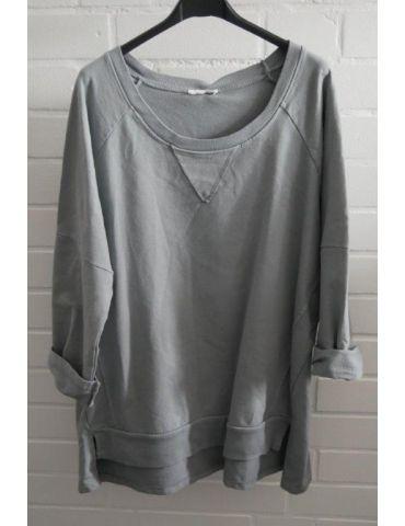 Damen Sweat Shirt langarm grau grey Baumwolle Onesize 38 - 44