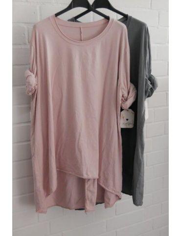 Damen Shirt langarm rose rosa uni mit Baumwolle...