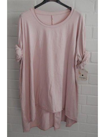 Damen Shirt langarm rose rosa uni mit Baumwolle Onesize 38 - 46