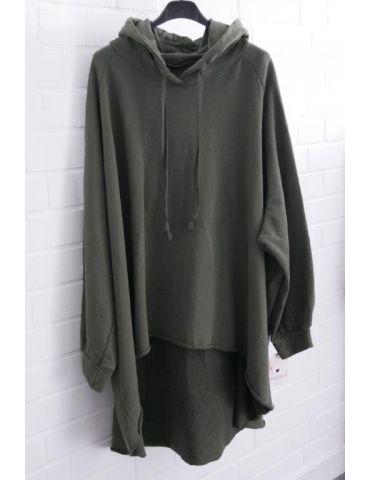 XXXL Big Size Hoodie Sweat Shirt langarm dunkelkhaki oliv grün Baumwolle Onesize 38 - 50