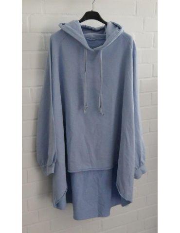 XXXL Big Size Hoodie Sweat Shirt langarm jeansblau blau Baumwolle Onesize 38 - 50
