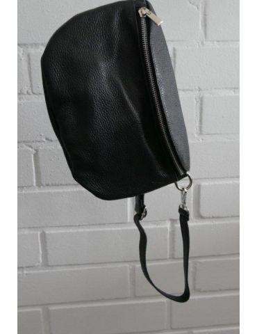 Damen Echt Leder Gürtel Tasche Handtasche Bauchtasche schwarz black uni Gr. L