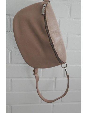 Damen Echt Leder Gürtel Tasche Handtasche Bauchtasche rose rosa uni Gr. L