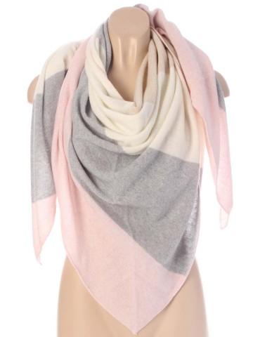 Zwillingsherz Dreiecktuch Schal mit Kaschmir Viskose rose natur grau creme Streifen Stefanie