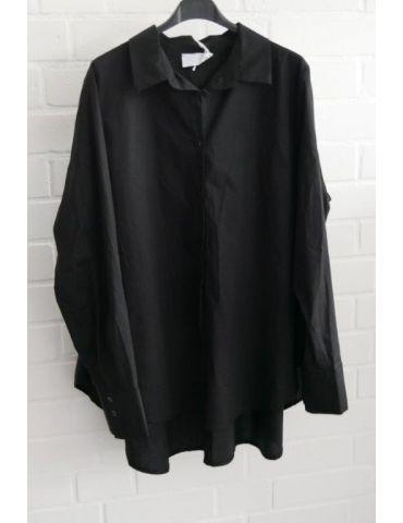 ESViViD Damen Bluse schwarz black uni A-Form durchgeknöpft