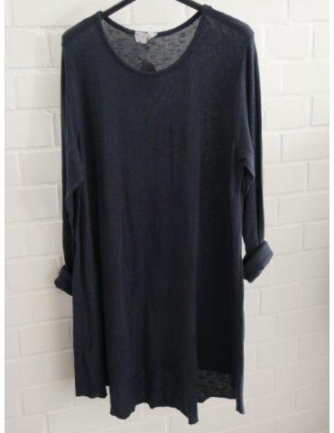 ESViViD Damen Tunika Shirt A-Form dunkelblau marine langarm Baumwolle Onesize ca. 38 - 44