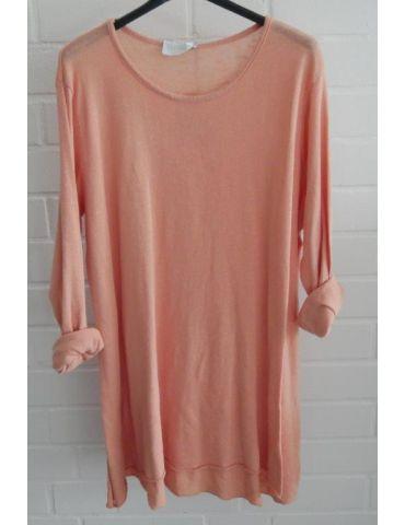 ESViViD Damen Tunika Shirt A-Form lachs langarm Baumwolle Onesize ca. 38 - 44