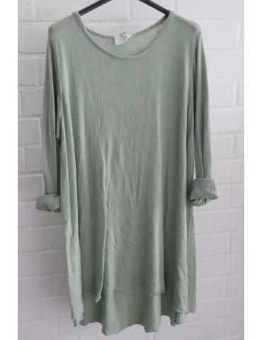 ESViViD Damen Tunika Shirt A-Form matcha grün langarm Baumwolle Onesize 38 - 44