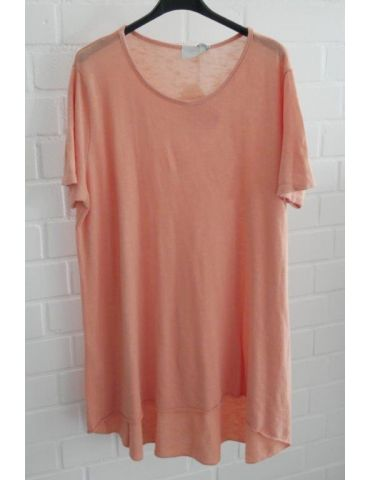 ESViViD Damen Tunika Shirt A-Form lachs apricot kurzarm Baumwolle Onesize ca. 38 - 44