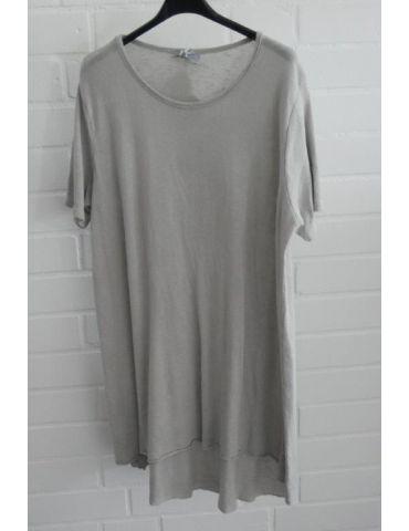 ESViViD Damen Tunika Shirt A-Form hellgrau grau kurzarm Baumwolle Onesize ca. 38 - 44