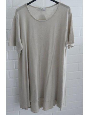 ESViViD Damen Tunika Shirt A-Form beige sand kurzarm Baumwolle Onesize ca. 38 - 44