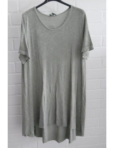 ESViViD Damen Tunika Shirt A-Form khaki oliv grün kurzarm Baumwolle Onesize ca. 38 - 44