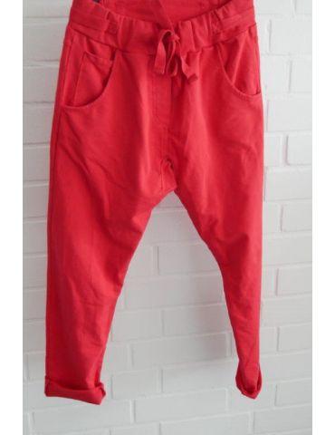 Wendy Trendy Jogginghose JoggPants Damenhose Hose rot durchgefärbt mit Verstellband