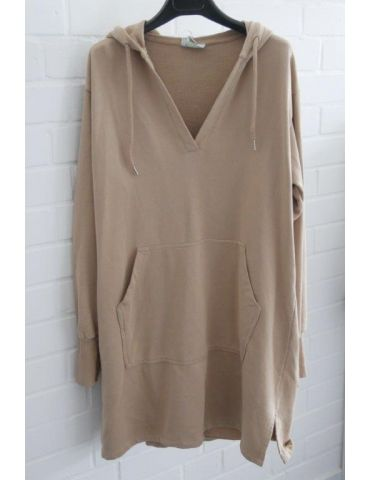 ESViViD Damen langarm Sweat Shirt Tunika Kleid mit Kapuze V-Ausschnitt camel