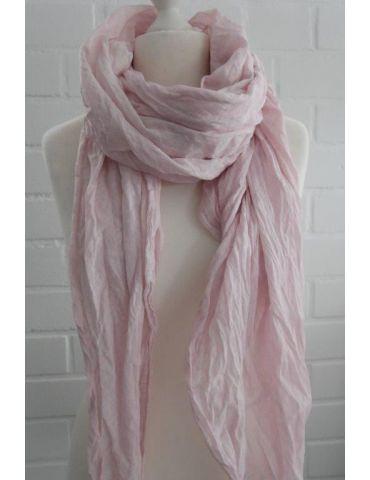 XXL Damen Schal Tuch rose rosa verwaschen 100% Baumwolle Asymmetrisch