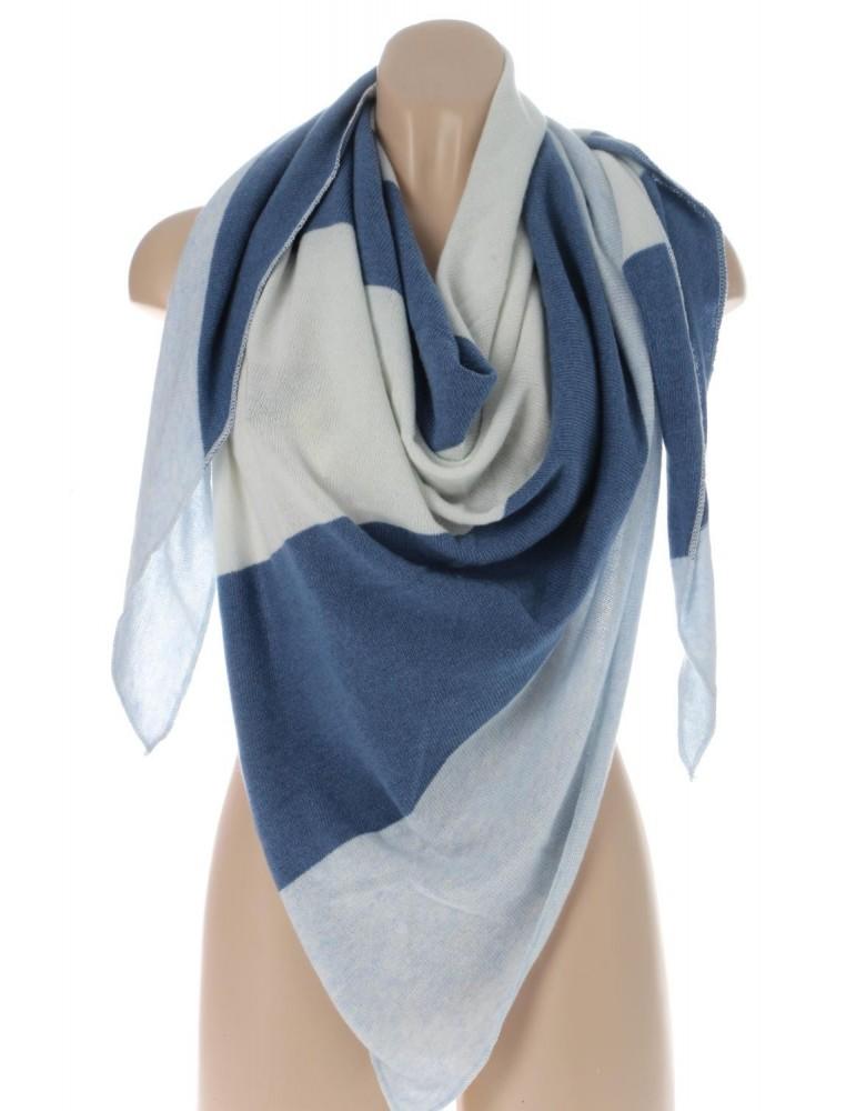 Zwillingsherz Dreiecktuch Schal mit Kaschmir blau hellblau creme Streifen Stefanie