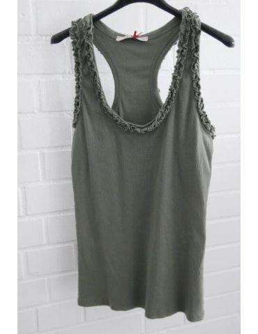 Damen Rippen Top Shirt khaki oliv grün Rippen Rüschen