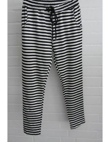 ESViViD Coole Sportliche Chino Hose schwarz weiß Streifen