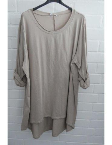 Damen Shirt langarm beige sand uni mit Baumwolle Onesize 38 - 46