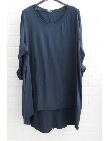 Damen Shirt langarm dunkelblau marine uni mit Baumwolle Onesize 38 - 46