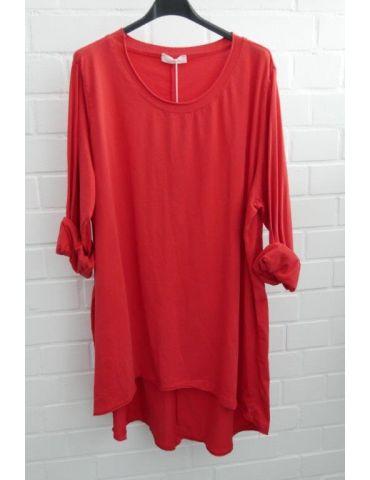 Damen Shirt langarm rot red uni mit Baumwolle Onesize 38 - 46