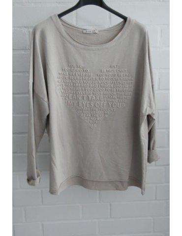 Leichtes Sweat Shirt langarm beige sand uni Herz Baumwolle Onesize 38 - 42