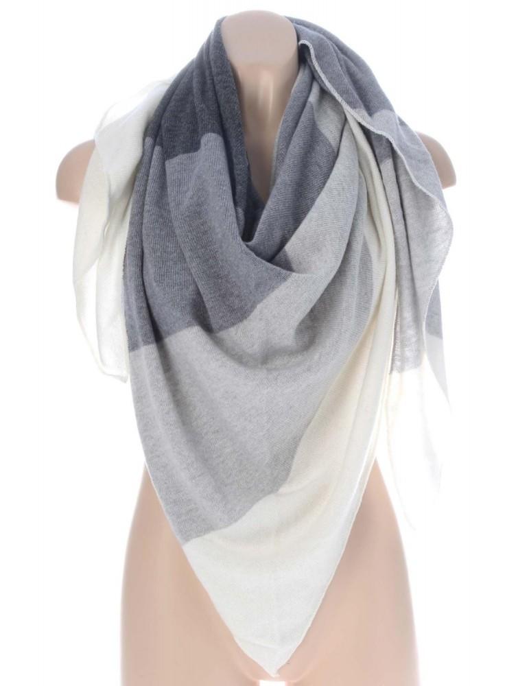 Zwillingsherz Dreieckstuch Schal mit Kaschmir anthrazit grau hellgrau creme Streifen Stefanie