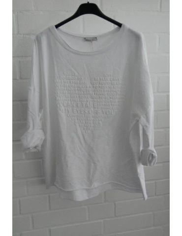 Leichtes Sweat Shirt langarm weiß white uni Herz Baumwolle Onesize 38 - 42