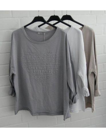 Leichtes Sweat Shirt langarm grau grey uni Herz...