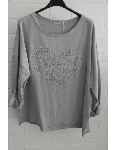 Leichtes Sweat Shirt langarm grau grey uni Herz Baumwolle Onesize 38 - 42
