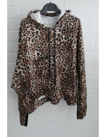 ESViViD XXL Big Size Hoodie Sweat Shirt langarm schwarz beige creme Leo mit Baumwolle