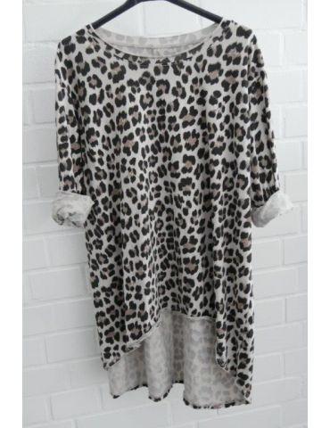 Damen langarm Shirt A-Form beige schwarz taupe Leo Baumwolle Onesize 38 - 44