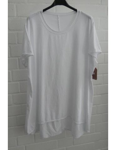 Damen Shirt A-Form kurzarm weiß white Baumwolle Onesize ca. 38 - 46