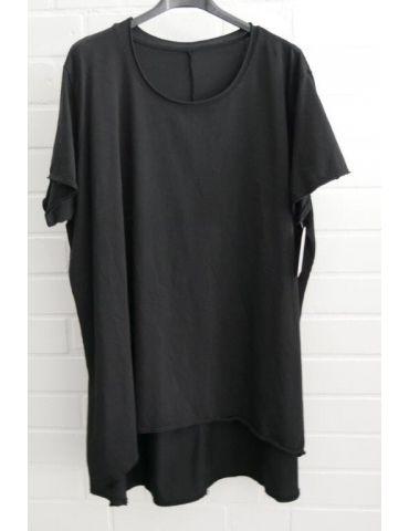 Damen Shirt A-Form kurzarm schwarz black Baumwolle Onesize ca. 38 - 46
