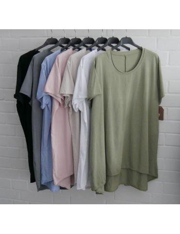 Damen Shirt A-Form kurzarm grau Baumwolle...