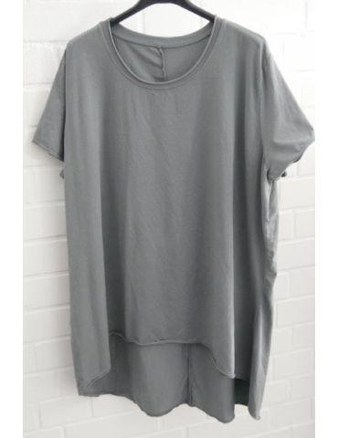 Damen Shirt A-Form kurzarm grau Baumwolle Onesize ca. 38 - 46