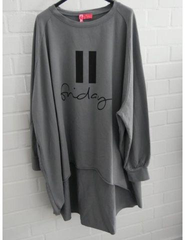 "XXXL Leichtes Big Size Sweat Shirt langarm grau schwarz ""Friday"" mit Baumwolle Onesize 38 - 50"
