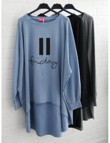 XXXL Leichtes Big Size Sweat Shirt langarm blau...