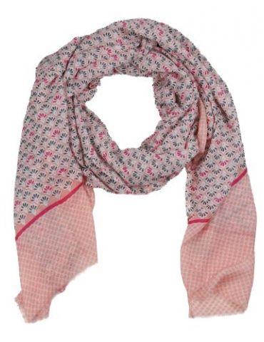 Leichter XL Damen Schal Tuch creme lachs pink taupe Phantasiemuster