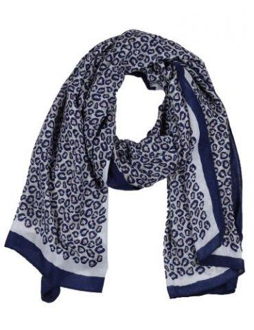 Leichter XL Damen Schal Tuch weiß dunkelblau lachs beige Leo
